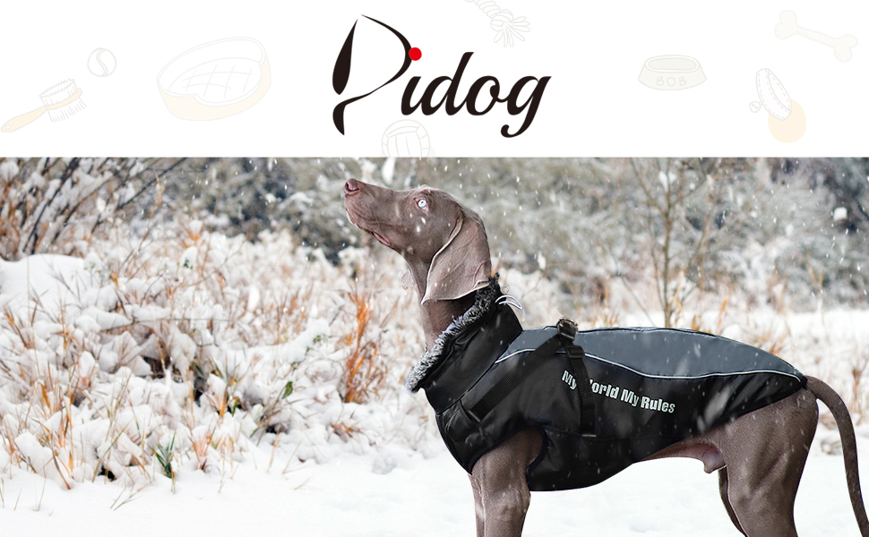 Didog Waterproof Dog Winter Jackets,Cold Weather Dog Coats with Harness amp; Furry Collar