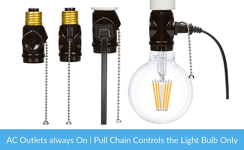 simba lighting adapter black ac outlets always on pull chain only controls the light bulb only