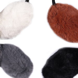 Red Valentines Day Heart Line Winter Earmuffs Ear Warmers Faux Fur Foldable Plush Outdoor Gift