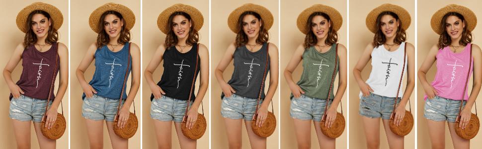 LAICIGO Womens Summer Racerback Graphic Tank Tops Twist Criss Faith Workout Tanks Shirts