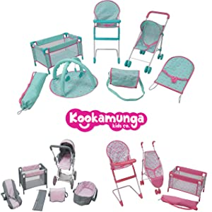Doll play stroller toddler baby accessories girl toy pram carriage furniture 18 inch set imagination