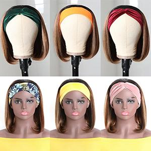 Headband Wigs Ombre Color Straight Short Bob Wigs