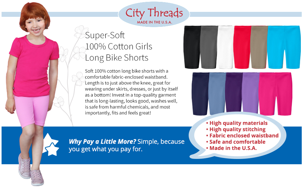 City Threads Girls 100/% Organic Bike Shorts for Sports or Under Skirts