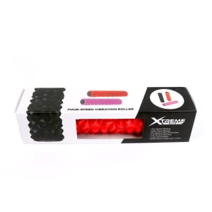 Red vibrating foam roller with box