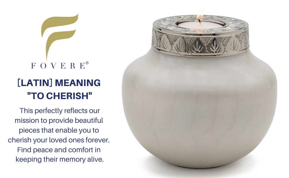 cremation urn for human ashes small keepsake memories cherish peace comfort memory fovere candle