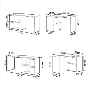Habitdesign 008311A - Mesa escritorio, mueble de despacho, modelo Adapta, color Blanco Artik, medidas: 74 x 120 x 77 cm: Amazon.es: Hogar