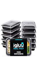 1 bacs Igluu pour préparation de repas à un compartiment bacs à plateaux sectionnés
