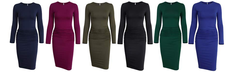 Long Sleeve Ruched Bodycon T shirt Dress