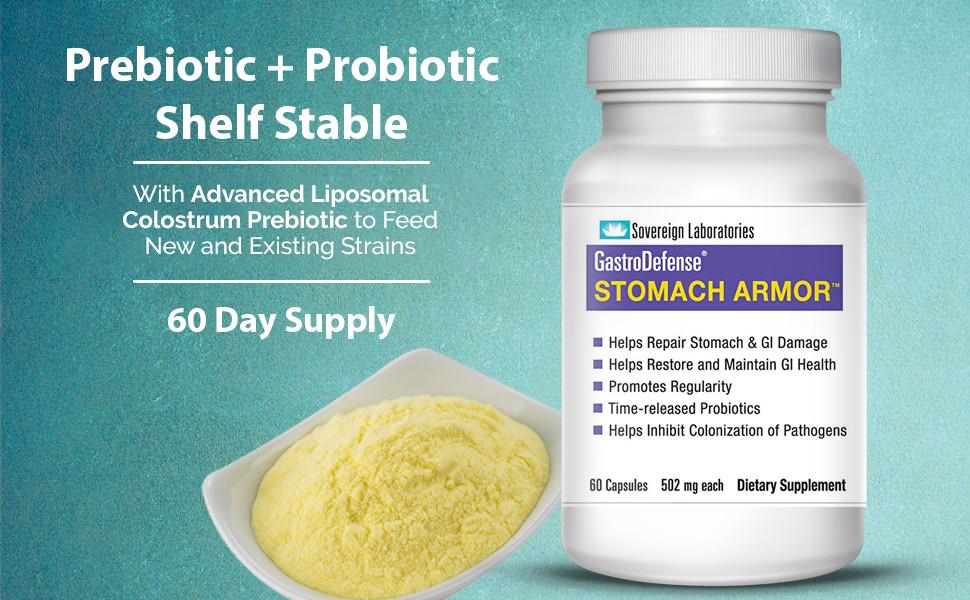 stomach armor prebiotic probiotic shelf stable sovereign laboratories liposomal