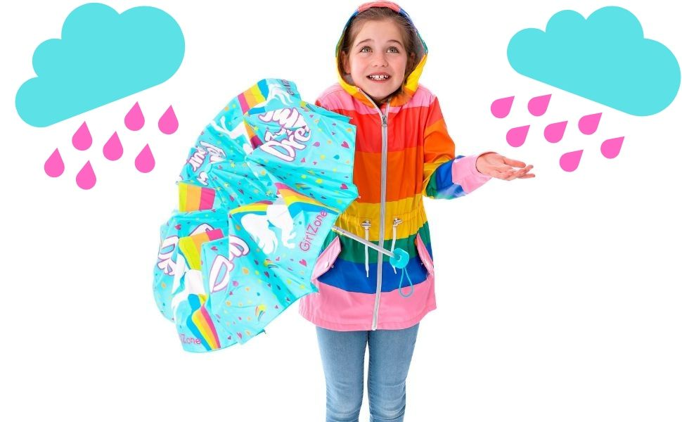 Childs Blue Unicorn Umbrella Kids Girls Gift