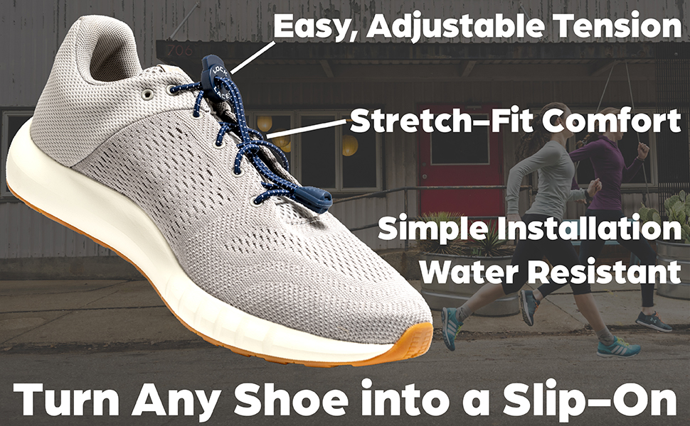 slip on, no tie shoe lace, elastic laces, lock laces, no-tie laces