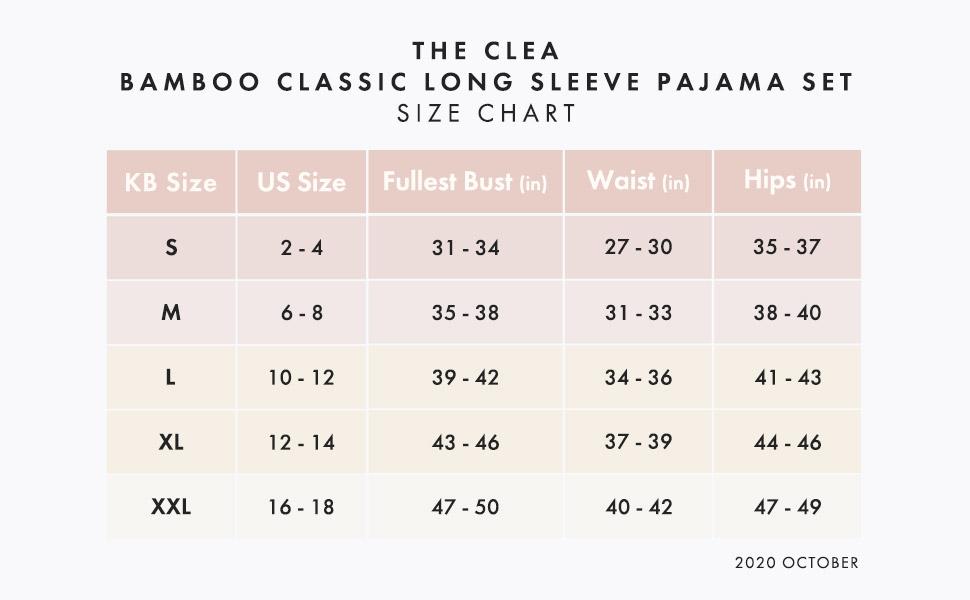 size-chart-amazon-Clea-pajama-set