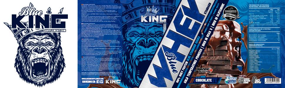 BLUEKING SUPPLEMENT, Whey Protein, Proteína en polvo, Suplementos deportivos, Blue Whey Standard Protein - 2kg (FRESA)