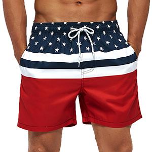 SILKWORLD Mens Swim Shorts Quick Dry Athletic Beach Trunks with Pockets