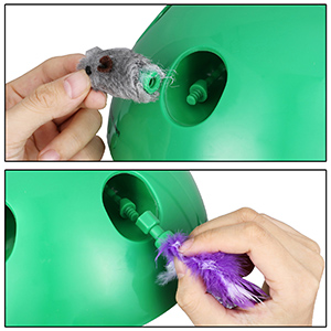 interchangeable feather and mouse toy