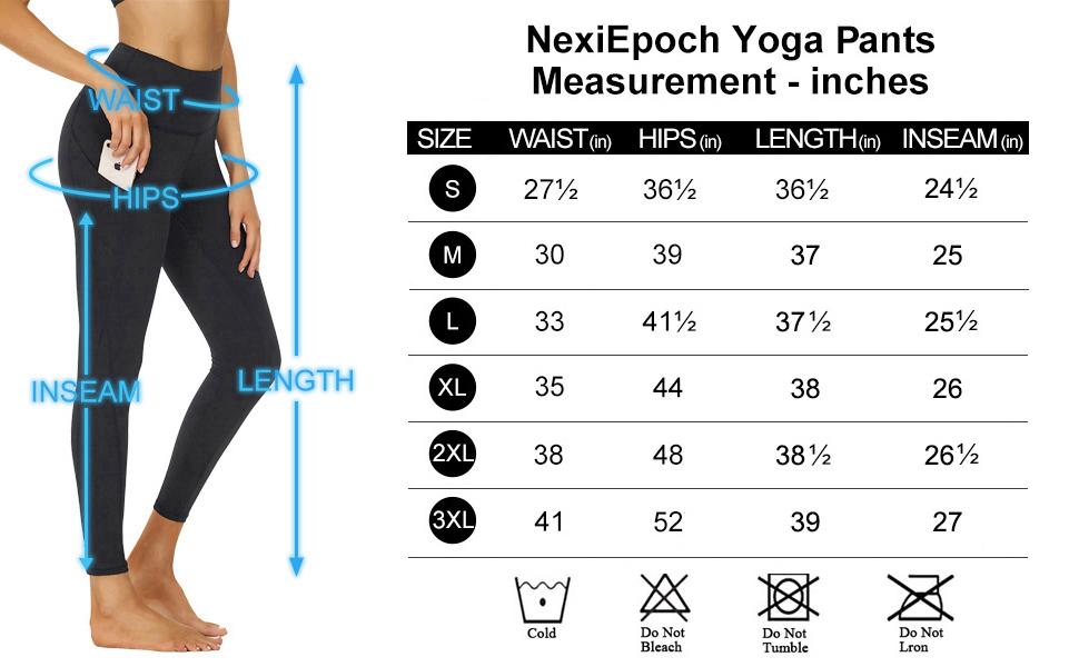 women yoga pants s/m/l/xl/xxl size chart