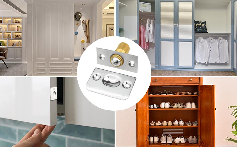 Closet Door Ball Catch with Strike Plate for Cabinet Closet Door Kitchen Bedroom