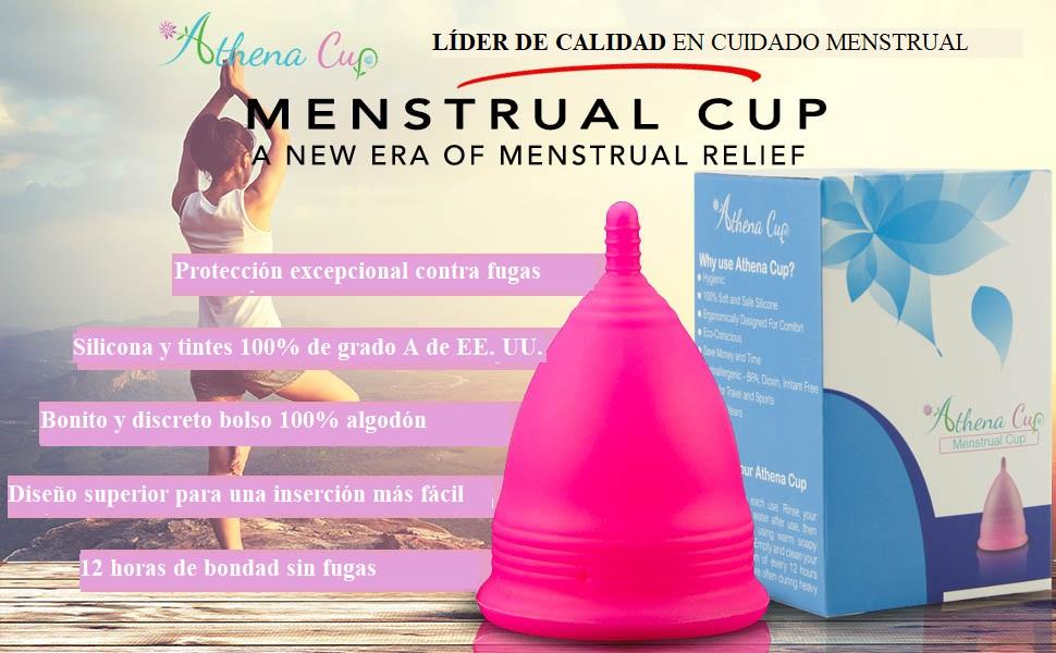 Athena Copa Menstrual – La copa menstrual más recomendada - Incluye una bolsa de regalo - Talla 1, Rosa liso - ¡Ausencia de pérdidas garantizada!