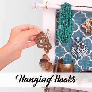 hanging hooks and metal mesh for Earring storage