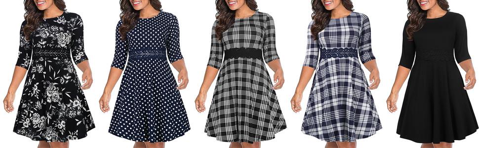 Nemidor Women's 3/4 Sleeve Embroidery Party Dress Plus Size Vintage Cocktail Swing Dress