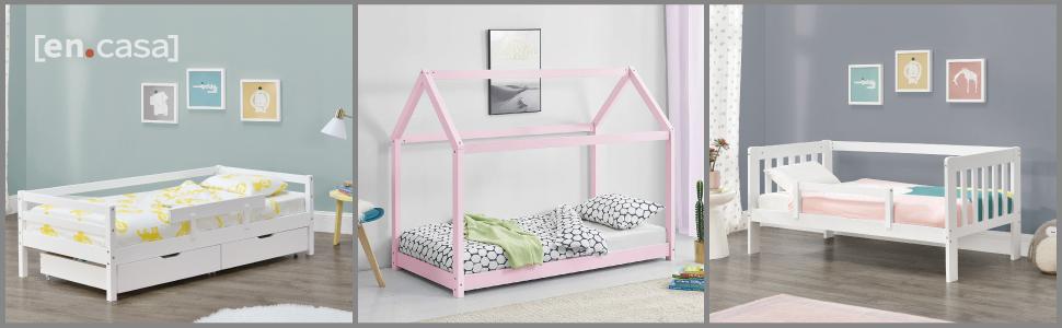 lit d'enfant cabane forme maison barrière anti-chutes tiroirs de rangement jeux design pin matelas