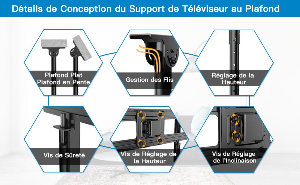 Support TV Plafond
