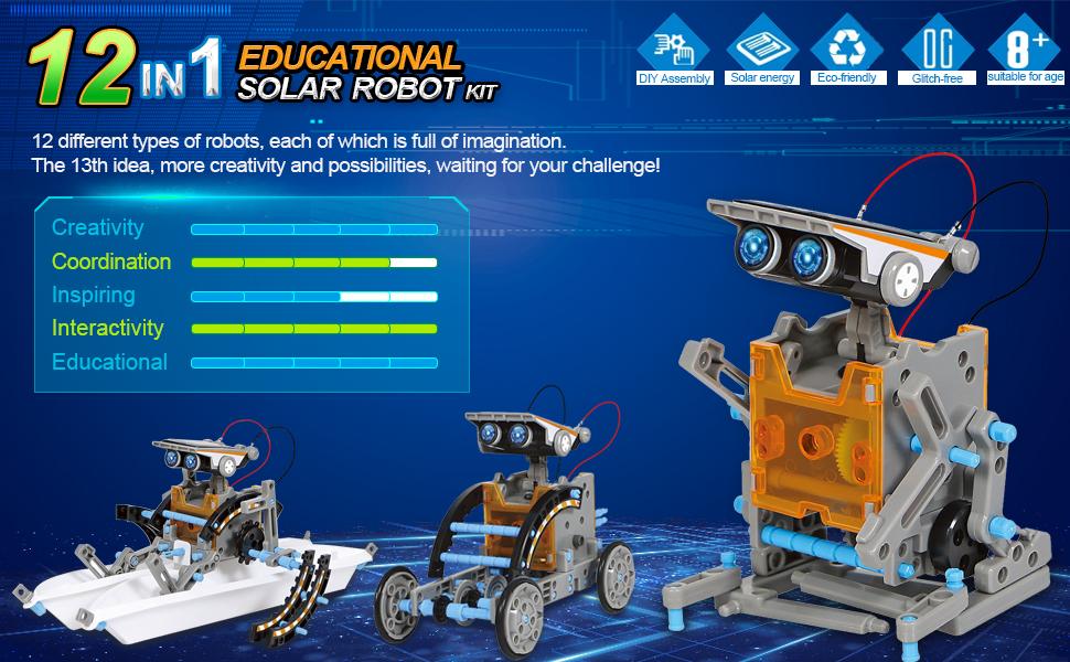 12-in-1 Science Solar Robot Kit for Kids,STEM Educational DIY Solar Powered Building Toys