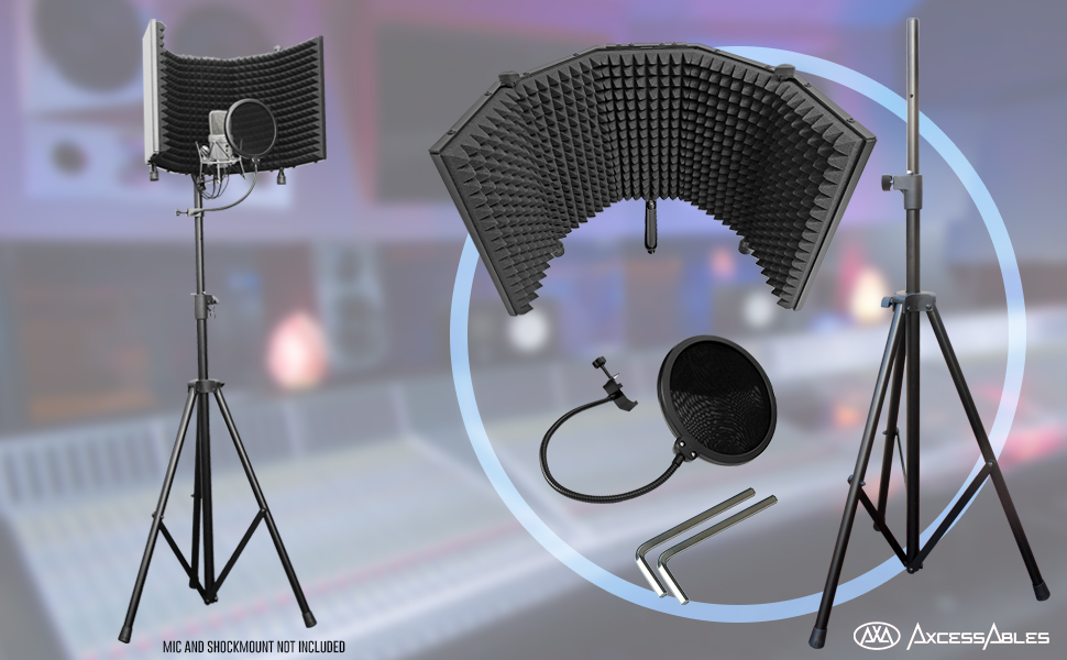 """Flashandfocus.com 6ca945de-1164-470d-a477-fd6f7c4b49bc.__CR0,0,970,600_PT0_SX970_V1___ AxcessAbles SF-101KIT Recording Studio Microphone 32.5""""Wx13""""H (422sq inch) Half Dome Isolation Shield with Tripod Stand 4ft to 6ft 6"""" Height Compatible w/Blue Yeti, AT2020, Condenser Mics"""