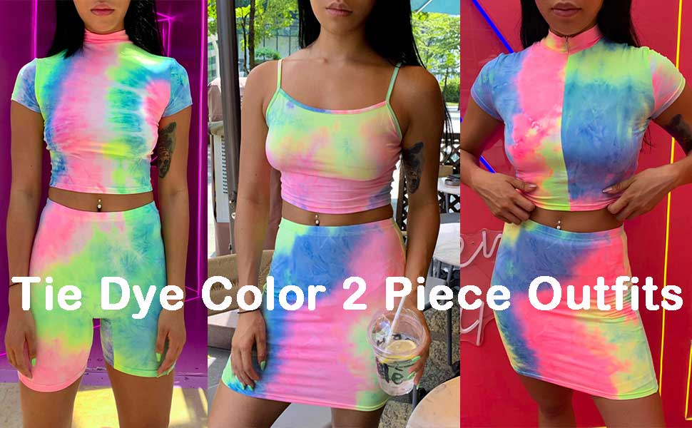 tie dye slip dress for women tie dye midi dress 2 piece outfits for women fitness sets biker shorts