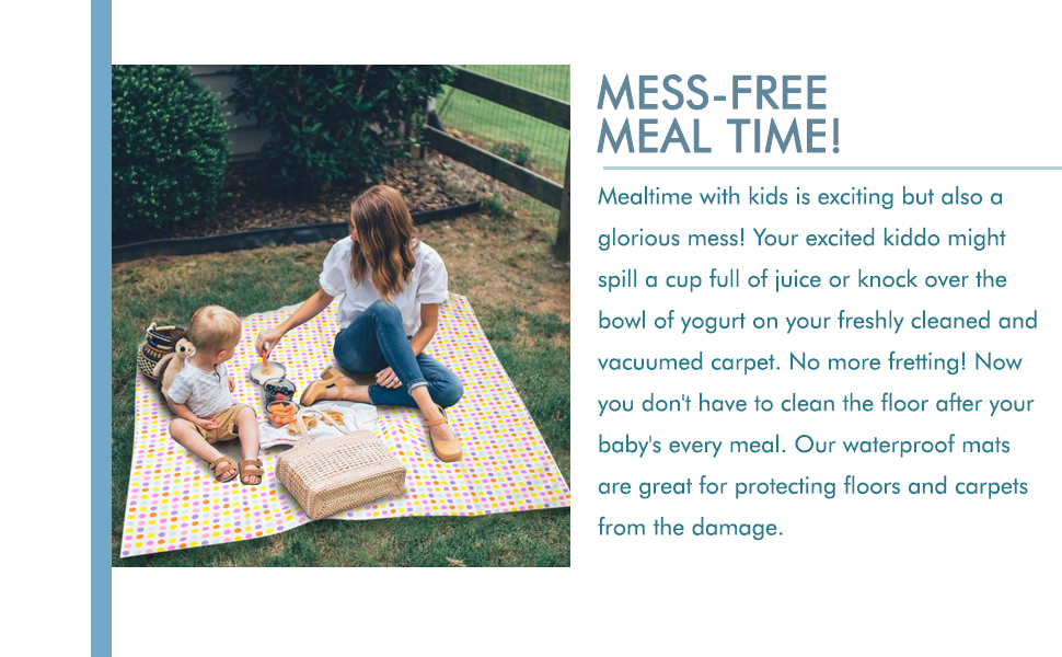 Stress Free Playtime Arts /& Crafts Table Cloth Under The High Chair Floor Mat MedPal Washable /& Waterproof Splat Mat Mess Free Meal Time