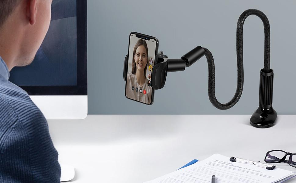 Gooseneck phone holder for desk