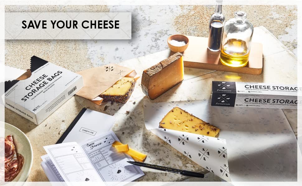 """Assorted cheeses and charcuterie scattered among Formaticum products; text reads """"save your cheese."""""""