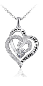 heart necklace i love you  to the moon and back necklace