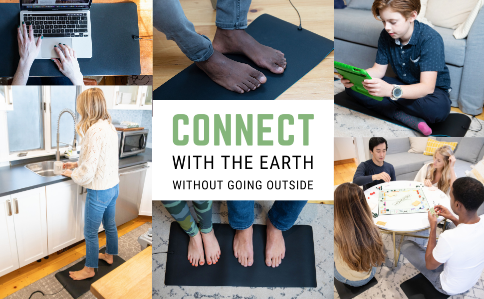 Connect with the earth without going outside by putting your feet on the grounded mat