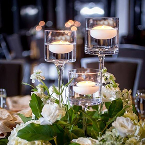 Floating Candle with Long-Stem Glass Tea Light Candleholders