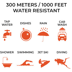 300 meters 1000 feet water resistance