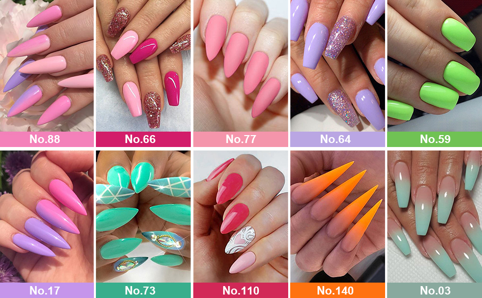 honey joy dipping powder dip colors acrylic nail nails pink red purple green orange spring summer