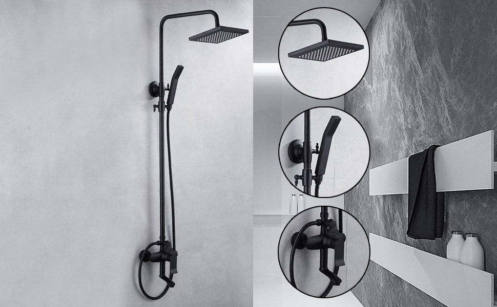 Exposed Shower System Square Rainfall