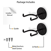 package content includes metal anchors steel screws ball rack holder sports ball wall mount set of 2