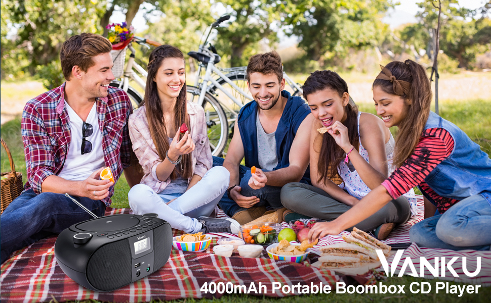 portable 4000 mAh boombox cd player