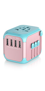 Pink travel plug adapter