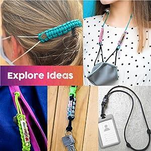 paracord bracelet lanyard zipper pull keychain ear mask saver