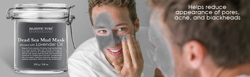 majestic pure dead sea mud facial face mask masque lavender essential oil authentic pores acne best