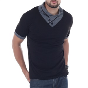 YTD 100% Cotton Mens Casual V-Neck Button Slim Muscle Tops Tee Long Sleeve T-Shirts