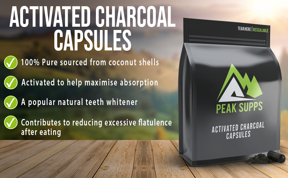 Activated Charcoal Capsules 300mg - 30 Pills - Pure Food Grade Charcoal  from Coconut Shells | Flatulence, Detox and Teeth whitening