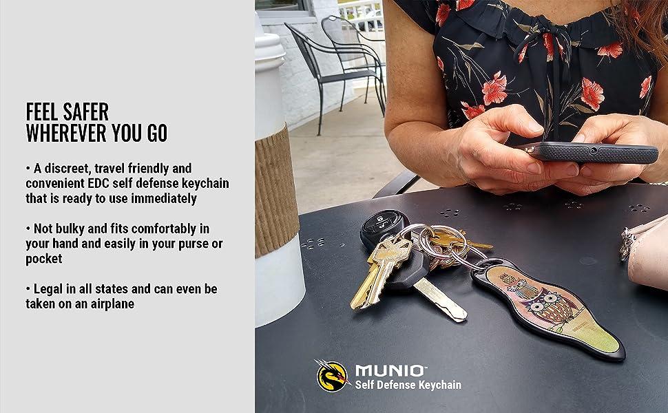 MUNIO EDC self defense kubaton kubotan keychain for women owls discreet travel friendly