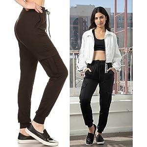 Shosho Womens Cargo Jogger pants,Cargo pants,cargo sweatpants,sweats,jogging pants,poly brushed,soft