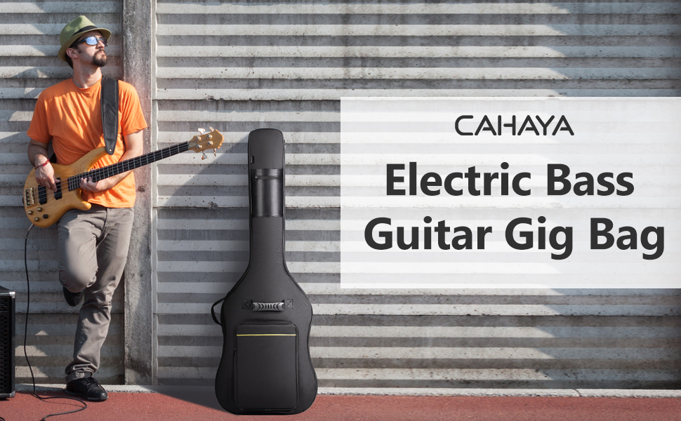 CAHAYA Electric Bass Guitar Gig Bag black Backpack 0.3 inch Thick Padding Soft Padded guitar Case