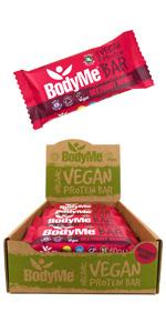 BodyMe Organic Vegan Protein Bars or Vegan Protein Bar or Vegan Protein Snack - Beetroot Berry