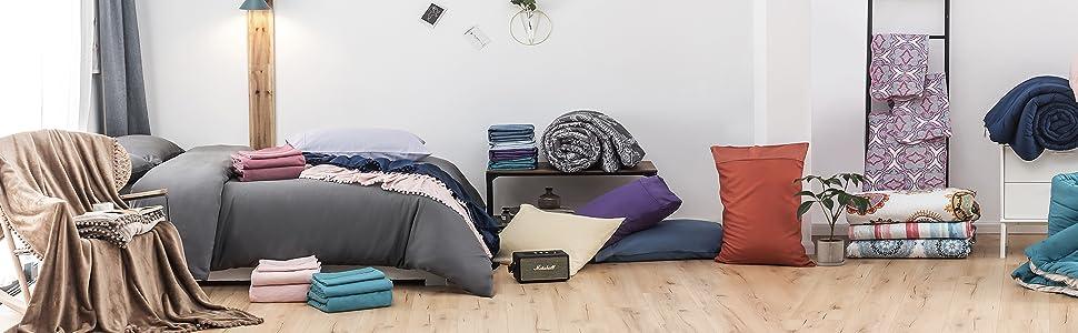 MOHAP 2 Pack Zippered Pillow Cases Pillowcase Microfiber Queen Size Light Purple